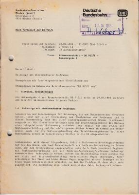 Bremsvorschrift - Deutsche Bundesbahn - 1989