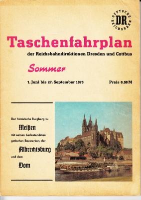 DR Taschenfahrplan Dresden und Cottbus, Sommer 1975