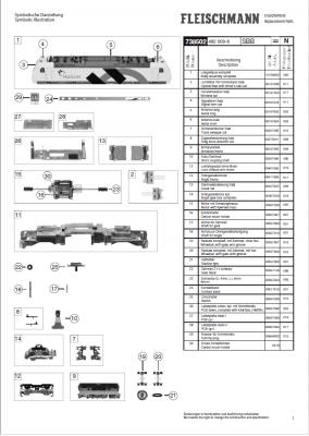 Ersatzteilblatt 738502 - Elektrolokomotive Reihe 482 der SBB mit