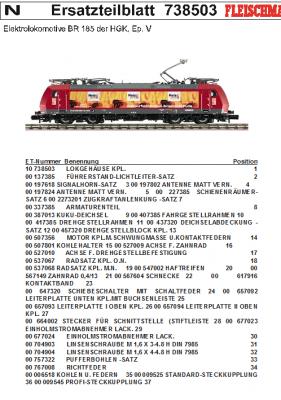 Ersatzteilblatt 738503 - Elektrolokomotive BR 185 der HGK, Ep. V
