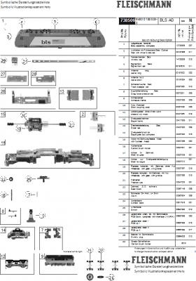 Ersatzteilblatt 738506 - Elektrolokomotive Reihe 185.1 der bls cargo.