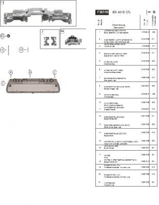 Ersatzteilblatt 738510 - Elektrolokomotive 4019, CFL