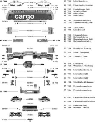 Ersatzteilblatt 7386 - Elektrolokomotive Reihe Re 482 der SBB-Cargo.