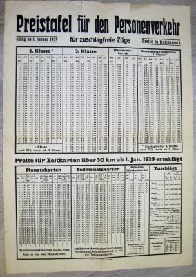 Preistafel für den Personenverkehr 1939