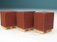 DUHA 11518 - 3 Holz-Paletten mit Ziegelblöcken (Spur H0)