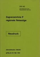 Zugverzeichnis P, regionale Reisezüge - DB AG - 1994/95