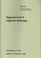 DB AG · Zugverzeichnis P regional. Reisezüge 1996/97