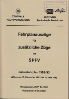 DB · Fahrplanauszüge für zusätzl. Züge 1992/93