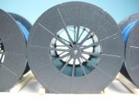 DUHA 11367 A - 3 Metallkabeltrommeln blau im Holzrahmen