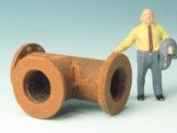 DUHA 11401 - Rohr in T-Form mit Flasch und Schrauben (Spur H0)