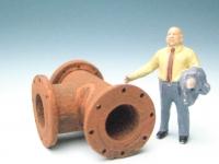 DUHA 11401 A - Rohr in T-Form mit Flansch und Löchern (Spur H0)