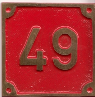 Schild aus Messingguss 60 x 60 mm, mit Nummer 49